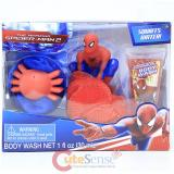 Marvel Spiderman Body Wash 3pc Gift Set Bath Poufs Body Wash