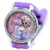 Disney Frozen Elsa Wrist Watch Round Rhinestone Bezel Sporty Purple