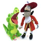 Peter Pan Captain Hook and Tic Toc Crocodile Plush Doll 2pc Set