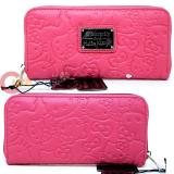 Hello Kitty Pink Face Embossed Zip Around Wallet by Loungefly