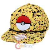 Pokemon Pikachu All Over Print Snapback with Pokeball Trucker Flat Bill Cap