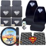Super Man Shield Logo Car Seat Covers Accessories Complete 9pc Set