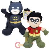 DC Comic Super Hero Batman & Robin Plush Doll Toy Set - Black Batsuit