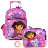 Dora The Explorer Large School Roller Backpack Lunch Bag Set -Lovely Flowers