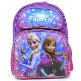 "Disney Frozen  Elsa Anna Large  School  Backpack with Oalf  16"" Girls Bag Purple Snowflakes"