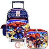 "Disney Big Hero 6  16"" Large School Roller Backpack Lunch Bag 2pc Set -city"