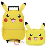 "Pokemon Pikachu 16"" Large School Roller Backpack Lunch Bag 2pc Set with Plush Ear"