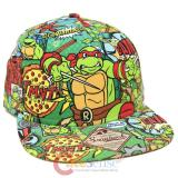 Teenage Mutant Ninja Turtles TMNTAll Over Print Sublimated Snapback Flat Bill  Cap