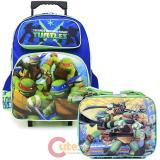 TMNT Ninja Turtles  Large  School  Roller Backpack with Lunch Bag Set- Tough Guys