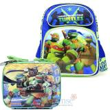 "TMNT  Ninja Turtles 14""  Medium School Backpack Lunch Bag Set  -Tough Guys"