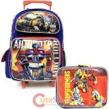 "Transformers Robots in Disguise 16"" School Roller Backpack  Lunch Bag Set -Rollout"