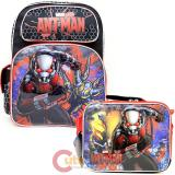 "Marvel Avengers Ant Man 16"" Large School  Backpack Lunch Bag 2pc Set"