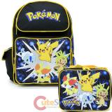 "Pokemon 16"" Large School  Backpack Lunch Bag 2pc Book Bag Set - Pikachu XY"