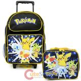 "Pokemon 16"" Large School  Roller Backpack Lunch Bag 2pc Book Bag Set - Pikachu XY"