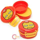 Kawaii Marvel Iron Man Lunch Box  2-Tier Round Food Container Bento