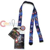Marvel Avengers Captain America Lanyard Keychain ID Holder with Charm Dangle