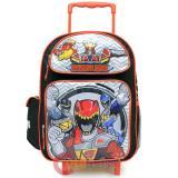 Power Rangers School Roller Backpack Large 16in Rolling Bag - Dino Charge