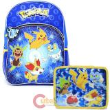 "Pokemon 16"" Large Light Up School Backpack with Insulated Lunch Bag Set"