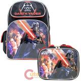 "Star Wars Darth Vader 16"" Large School  Backpack Lunch Bag 2pc Book Bag Set-Death Star"