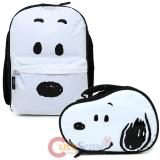 Peanuts Snoopy Big Face Large School  Backpack Lunch Bag 2pc Book Bag Set