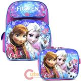 "Disney Frozen 16"" Large School Backpack Lunch Bag 2pc Set - Floral Flakes"