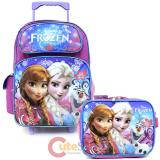 "Disney Frozen Elsa Anna 16"" Large School Roller Backpack Lunch Bag 2pc Set -Floral Flakes"