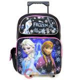 """Disney Frozen Elsa Amma 16"""" School Roller Backpack Black Pink Large Rolling Bag"""