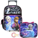 """Disney Frozen Elsa Anna 16"""" Large School  Roller Backpack Lunch Bag Set"""