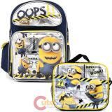 """Despicable Me Minions 16""""  Large School Backpack Lunch Bag Set -Oops"""