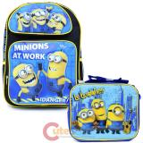 """Despicable Me Minions 16""""  Large School Backpack Lunch Bag Set - At Work"""