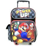 "Nintendo Super Mario 16"" Large School Roller Backpack Rolling Bag -Power Up"