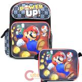 "Nintendo Super Mario Large 16"" School Backpack Lunch Bag 2pc Set - Power Up"