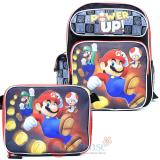 "Nintendo Super MarioLarge 12"" School Backpack Lunch Bag 2pc Set - Power Up"