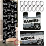 NFL Oakland Raiders 15pc Bathroom Rug and Shower Curtain Bath Set
