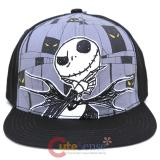 Nightmare Before Christmas Jack Snap Back  Flat Bill Hat - Black Grey