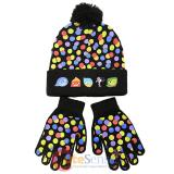 Disney Insideout Poka Dots Cuff Beanie Hat Gloves Set -Youth Size