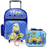Despicable Me Minions Large School Roller Backpack with Lunch Bag 2pc Set - Minion Team