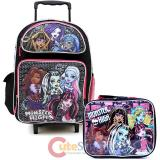 "Monster High 16""  Large  School  Roller Backpack with Lunch Bag Set-Love to Scare"