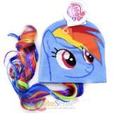 My Little Pony Rainbow Dash  Face Beanie Hat with Hair Wig