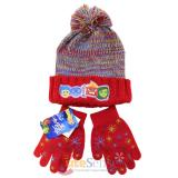 Disney Insideout Knitted Cuff Beanie Hat Gloves Set Red Youth Size