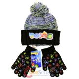 Disney Insideout Knitted Cuff Beanie Hat Gloves Set Black Youth Size
