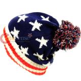 US America Flag Beanie Hat Patriotic Stars Stripes Kintted Cap