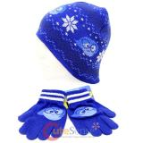 Disney Insideout Sadness Beanie Snow Flakes Knitted Hat Gloves Set