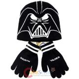 Star Wars Darth Vader Face Beanie Hat Gloves Set -Youth Size