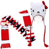 Sanrio Hello Kitty Face Laplander Beanie Hat with Red Stripe Scarf Set
