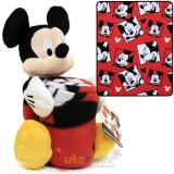 Disney Mickey Mouse Fleece Throw Blanket with Plush Doll Pillow Set