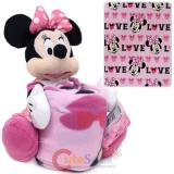 Disney Minnie Mouse Fleece Throw Blanket with Plush Doll Pillow Set