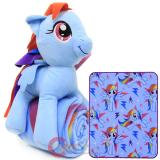 My Little Pony Rainbow Dash Fleece Throw Blanket with Plush Doll Pillow Set