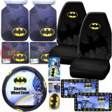 DC Comics Batman Logo Car Seat Covers Accessories Complete 12PC Set