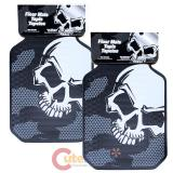 Plastic Color Big White Skull Car Floor Mat 2pc Accessories Set